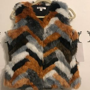 Jackets & Blazers - Chevron faux fur vest - nwt- size medium